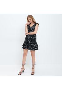 Czarna sukienka Mohito mini, w kropki