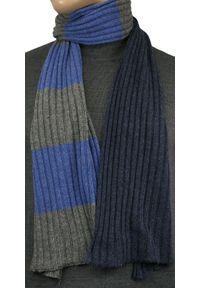 Niebieski szalik V. Fraas na jesień, elegancki