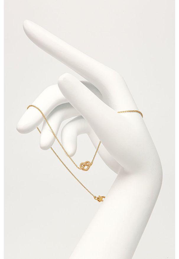 Złoty naszyjnik Kate Spade z mosiądzu, z aplikacjami