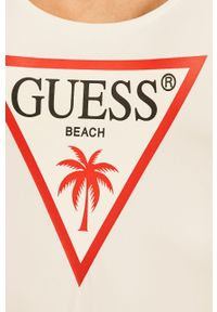 Biały strój kąpielowy Guess Jeans z odpinanymi ramiączkami, z nadrukiem