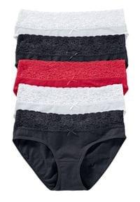 Figi z koronką (5 par) bonprix czarny + biały + czerwony. Kolor: czarny. Materiał: koronka. Wzór: koronka
