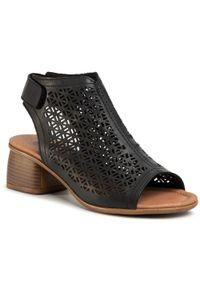 Czarne sandały Remonte na obcasie, na średnim obcasie, na co dzień, casualowe