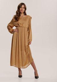 Renee - Beżowa Sukienka Nightvine. Kolor: beżowy. Wzór: prążki. Długość: midi