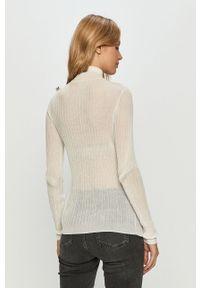 Biały sweter Miss Sixty długi, z golfem, z długim rękawem