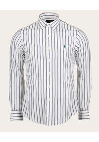 Ralph Lauren - RALPH LAUREN - Koszula męska w prążki Slim Fit. Typ kołnierza: polo. Kolor: biały. Materiał: bawełna. Wzór: prążki