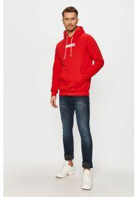 Czerwona bluza nierozpinana Prosto. z kapturem, z nadrukiem, casualowa, na co dzień