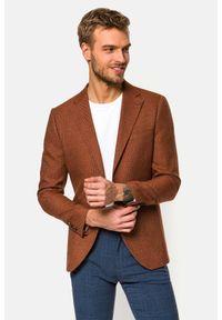 Lancerto - Marynarka Brązowa Mallorca. Typ kołnierza: golf. Kolor: brązowy. Materiał: jeans, wiskoza, materiał, tkanina, poliester. Wzór: gładki, kolorowy. Sezon: lato