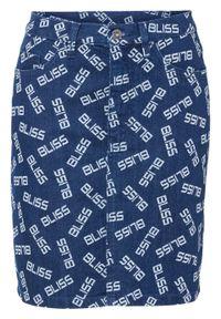 """Spódnica dżinsowa w napisy bonprix niebieski """"stone"""". Kolor: niebieski. Wzór: napisy"""