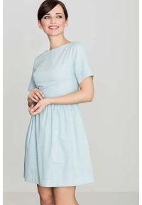 Katrus - Błekitna Bawełniana Sukienka z Krótkim Rękawem. Materiał: bawełna. Długość rękawa: krótki rękaw