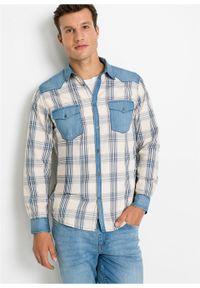 Beżowa koszula bonprix z aplikacjami, długa, z długim rękawem