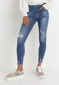 Born2be - Granatowe Jeansy Skinny Timomeda. Stan: podwyższony. Kolor: niebieski. Długość: długie. Wzór: aplikacja