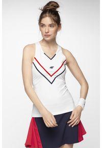 Biała koszulka sportowa 4f tenisowa, bez rękawów