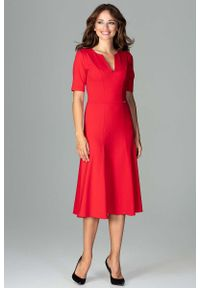 Czerwona sukienka koktajlowa Katrus wizytowa, midi
