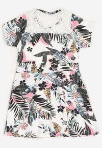 Born2be - Biało-Czarna Sukienka Thalali. Okazja: na co dzień. Kolor: biały. Materiał: koronka. Długość rękawa: krótki rękaw. Sezon: lato. Typ sukienki: proste. Styl: casual. Długość: mini #3