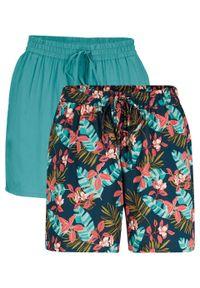 Niebieskie spodnie bonprix z nadrukiem, krótkie