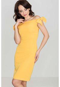 Żółta sukienka Katrus elegancka, z kokardą