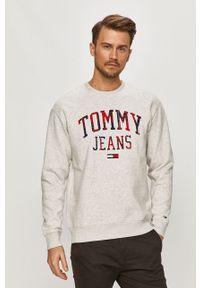 Szara bluza nierozpinana Tommy Jeans z aplikacjami, na co dzień, bez kaptura, casualowa
