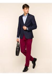 TOMMY HILFIGER - Tommy Hilfiger Tailored Spodnie materiałowe Flex TT0TT05837 Bordowy Slim Fit. Kolor: czerwony. Materiał: materiał