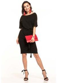 Tessita - Czarna Dzianinowa Sukienka z Kimonowym Krótkim Rękawem. Kolor: czarny. Materiał: dzianina. Długość rękawa: krótki rękaw