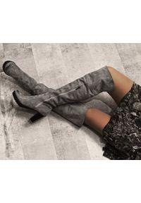Szare kozaki Zapato wąskie, klasyczne, na zimę, z cholewką za kolano