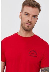 Karl Lagerfeld - T-shirt bawełniany. Okazja: na co dzień. Kolor: czerwony. Materiał: bawełna. Wzór: nadruk. Styl: casual
