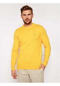 TOMMY HILFIGER - Tommy Hilfiger Sweter Pima Cotton Cashmere Crew MW0MW11674 Żółty Regular Fit. Kolor: żółty