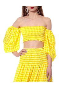 AGGI - Żółty top w kratkę Ibbie. Kolor: żółty. Materiał: tkanina, jedwab, wiskoza. Wzór: kratka