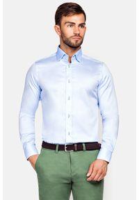 Lancerto - Koszula Maia 2. Kolor: niebieski. Materiał: bawełna, tkanina. Wzór: haft. Styl: wizytowy