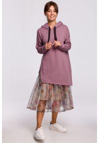 e-margeritka - Bluza długa z kapturem oversize lawendowa - l/xl. Typ kołnierza: kaptur. Kolor: fioletowy. Materiał: elastan, dzianina, materiał, bawełna. Długość: długie