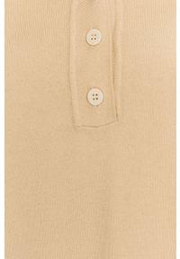 DKNY - Dkny - Sweter. Okazja: na co dzień. Typ kołnierza: kaptur. Kolor: beżowy. Długość: krótkie. Styl: casual