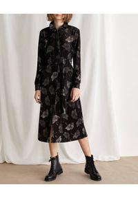 Marella - MARELLA - Wzorzysta sukienka Nota. Kolor: czarny. Materiał: materiał. Długość rękawa: długi rękaw. Wzór: gładki. Typ sukienki: koszulowe. Długość: midi