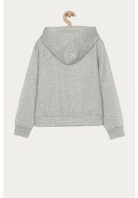 Szara bluza rozpinana Calvin Klein Jeans casualowa, z kapturem, na co dzień