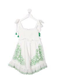 ZIMMERMANN KIDS - Biała sukienka z haftem 4-10 lat. Typ kołnierza: dekolt kwadratowy. Kolor: biały. Materiał: bawełna. Długość rękawa: na ramiączkach. Wzór: haft. Sezon: lato