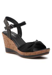 Czarne sandały Clara Barson na obcasie, na średnim obcasie, na co dzień, casualowe