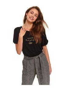 Czarny t-shirt TOP SECRET na jesień, casualowy, krótki
