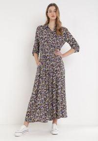 Born2be - Fioletowa Sukienka Sereileh. Kolor: fioletowy. Długość rękawa: długi rękaw. Wzór: kwiaty, kolorowy. Typ sukienki: koszulowe. Długość: maxi