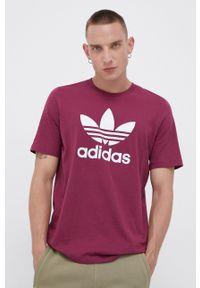 adidas Originals - T-shirt bawełniany. Okazja: na co dzień. Kolor: fioletowy. Materiał: bawełna. Wzór: nadruk. Styl: casual