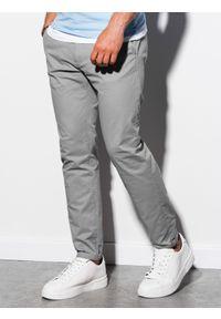 Ombre Clothing - Spodnie męskie chino P894 - szare - XXL. Kolor: szary. Materiał: elastan, bawełna