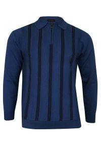 Niebieski sweter Elkjaer na zimę, klasyczny, z klasycznym kołnierzykiem