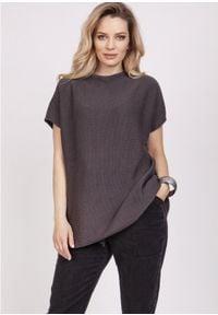 MKM - Luźny Sweter z Krótkim Rękawem - Grafitowy. Kolor: szary. Materiał: bawełna, akryl. Długość rękawa: krótki rękaw. Długość: krótkie