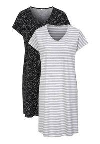 Cellbes Wzorzysta koszula nocna 2 Pack w paski Czarny female ze wzorem/czarny 46/48. Kolor: czarny. Materiał: materiał. Długość: do kolan. Wzór: paski