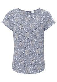 Bluzka z nadrukiem bonprix matowy niebieski w kwiaty. Kolor: niebieski. Wzór: nadruk, kwiaty