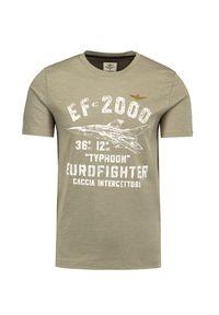 Aeronautica Militare - T-shirt AERONAUTICA MILITARE. Okazja: na co dzień. Materiał: bawełna. Długość rękawa: krótki rękaw. Długość: krótkie. Wzór: nadruk. Styl: casual, klasyczny