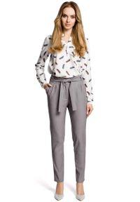 MOE - Szare Eleganckie Spodnie Typu Chino z Wiązanym Paskiem. Kolor: szary. Materiał: wiskoza, poliester, elastan. Styl: elegancki