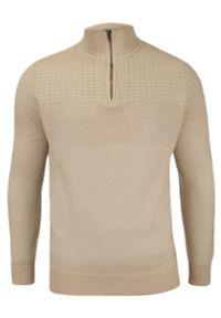 Beżowy sweter Adriano Guinari elegancki, z kołnierzem typu troyer