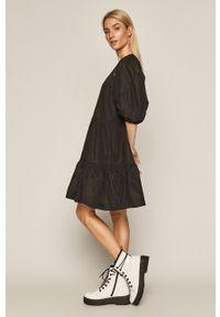 medicine - Medicine - Sukienka Glitch. Kolor: czarny. Materiał: materiał. Długość rękawa: długi rękaw. Typ sukienki: rozkloszowane