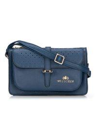 Niebieska listonoszka Wittchen elegancka, w ażurowe wzory