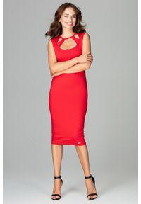 Sukienka dopasowana, w ażurowe wzory