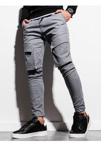 Szare spodnie Ombre Clothing z aplikacjami