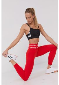 adidas Performance - Legginsy. Stan: podwyższony. Kolor: czerwony